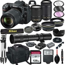 Nikon D7500 DSLR Camera with 18-140mm VR and 70-300mm Lens Bundle with 4... - $1,978.96