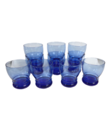 """10 Libbey 4.25"""" Tall Cobalt Blue Juice Drink Wine Bar Glasses Weighted Marked L - $79.19"""