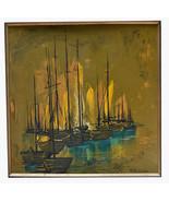 "35"" Vintage Oil Painting on Cardboard Signed N. Mercer Sailboats Seascap... - $379.99"