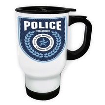 Blue Police Badge To serve and Protect White/Steel Travel 14oz Mug y121t - $17.79