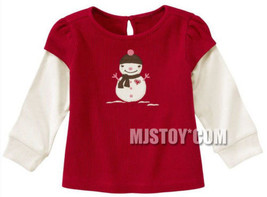 NWT GYMBOREE Snowman Double Sleeve Thermal T-Shirt 3-6M Alpine Sweetie - $14.99