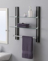 Organize It All Mounted 2 Tier Adjustable Tempered Glass Shelf with Chro... - $59.83