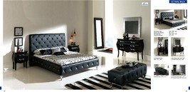ESF 621 NELLY Modern Black Leather Button Tufted King Size Bedroom Set 3Pcs