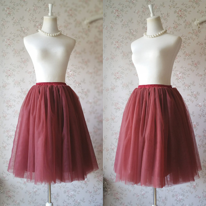 BURGUNDY Midi Tulle Skirt Womens High Waisted Burgundy Wine Red Tulle Skirts