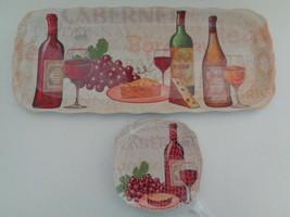 Cheese Tray & Plates Serving Set Wine & Grape Design Melmac 5 Piece Set New - $16.82