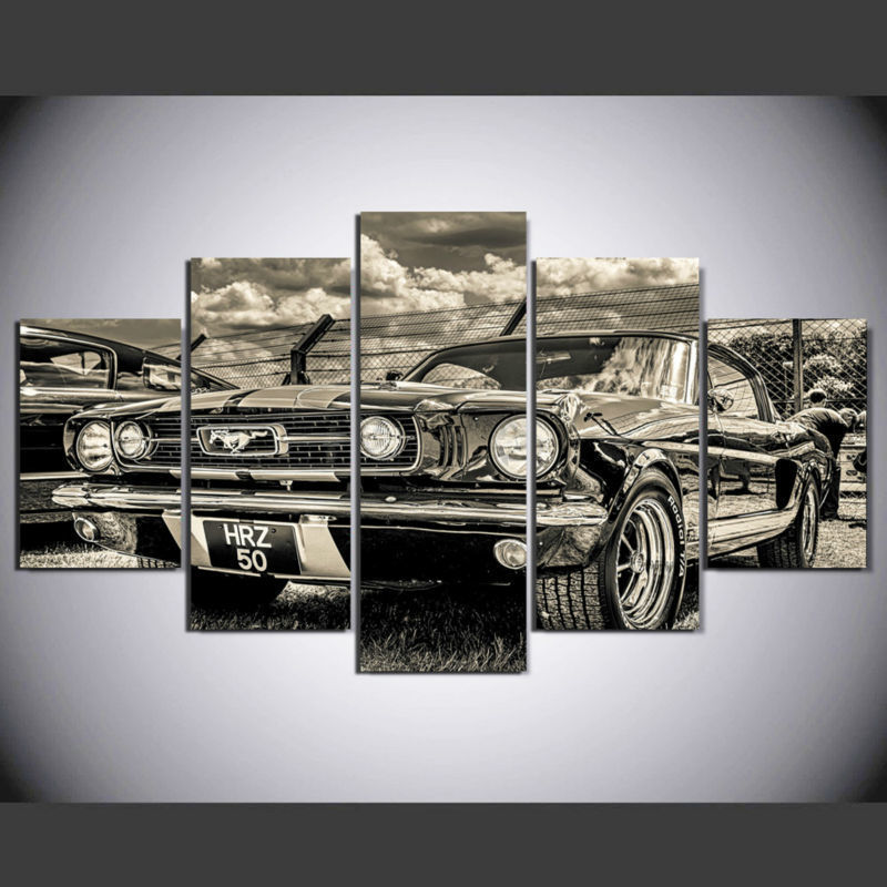 Framed 5 Piece Cool old car Painting HD Poster Canvas Wall Art Home ...