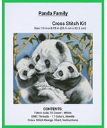 Counted Cross Stitch Embroidery Kit - Panda Family, Aida 18 ct, DMC - 17 Colors - $35.91
