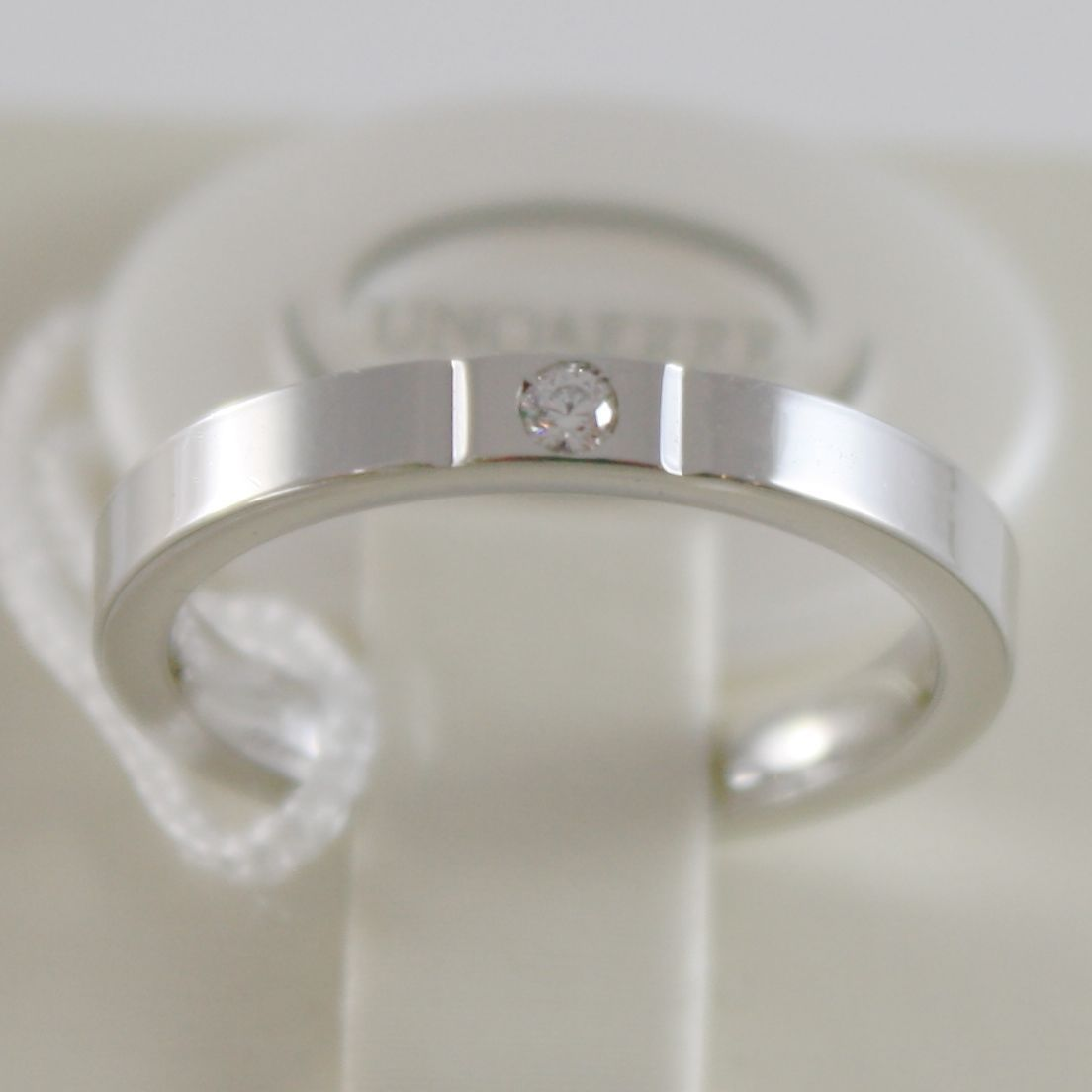 18K WHITE GOLD WEDDING BAND UNOAERRE SQUARE COMFORT RING, DIAMOND MADE IN ITALY
