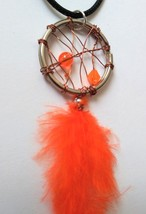 Orange bead  orange feather bronze wire wrapped dream catcher necklace - $15.00