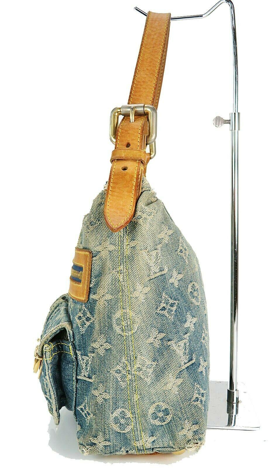 Authentic LOUIS VUITTON Baggy PM Blue Denim Shoulder Tote Bag Purse #34953 image 5