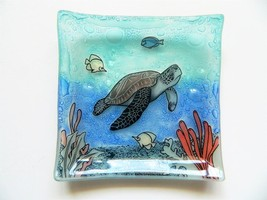Sea Turtle Fish Fused Art Glass Small Square Plate Dish Ecuador Fair Trade - £12.13 GBP