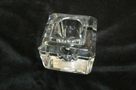Vintage Clear Glass Cube Single Tappered Candle... - $8.90