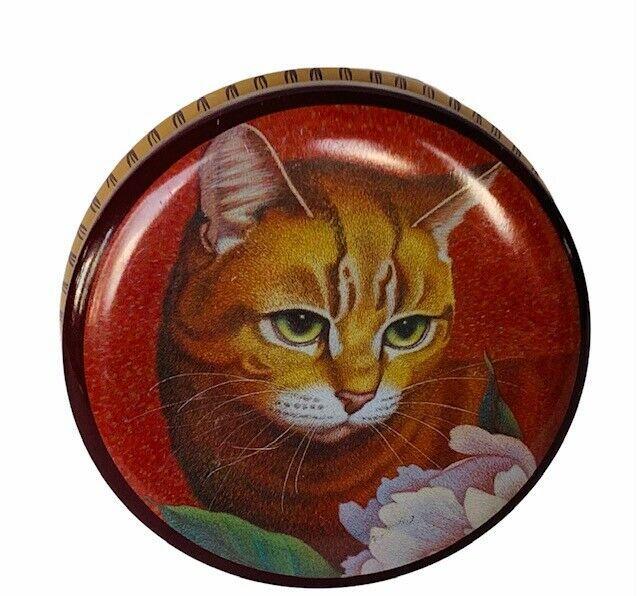 Cat Kitten Tin Metal Case Trinket Box Hallmark 1987 vtg Tabby Floral pink rose  - $19.75