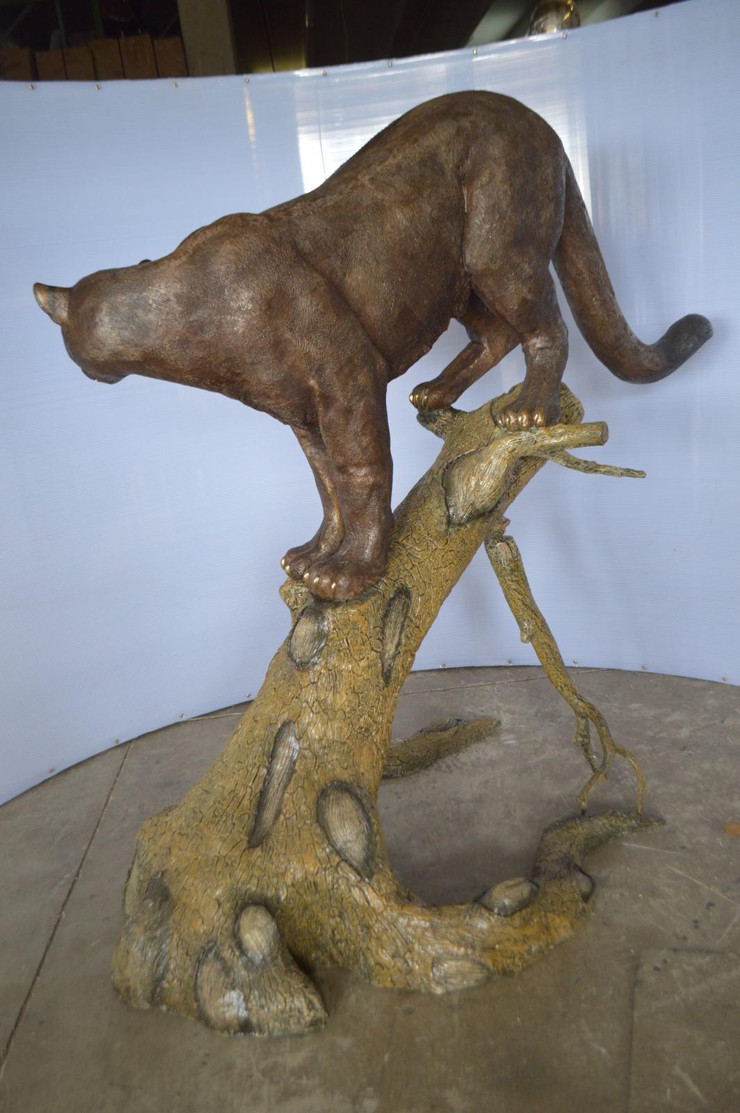 "Mountain Lion AKA Panther or Puma Bronze Statue -  Size: 73""L x 41""W x 65""H."