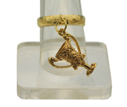 24K GOLD PLATED over Real Sterling silver Dangle Move Charm Ring Trophy ... - $29.76