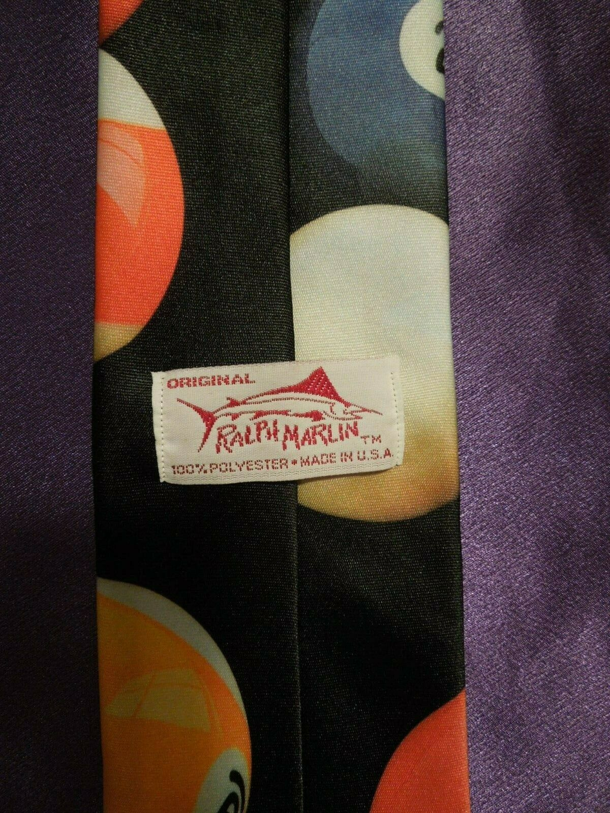 Vintage 1991 Ralph Marlin Random Billiard Pool Balls Neck Tie image 6