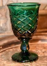 VINTAGE PINE EMERALD GREEN TULIP STEM GOBLET PRESSED GLASS DIAMOND WINE ... - $22.99