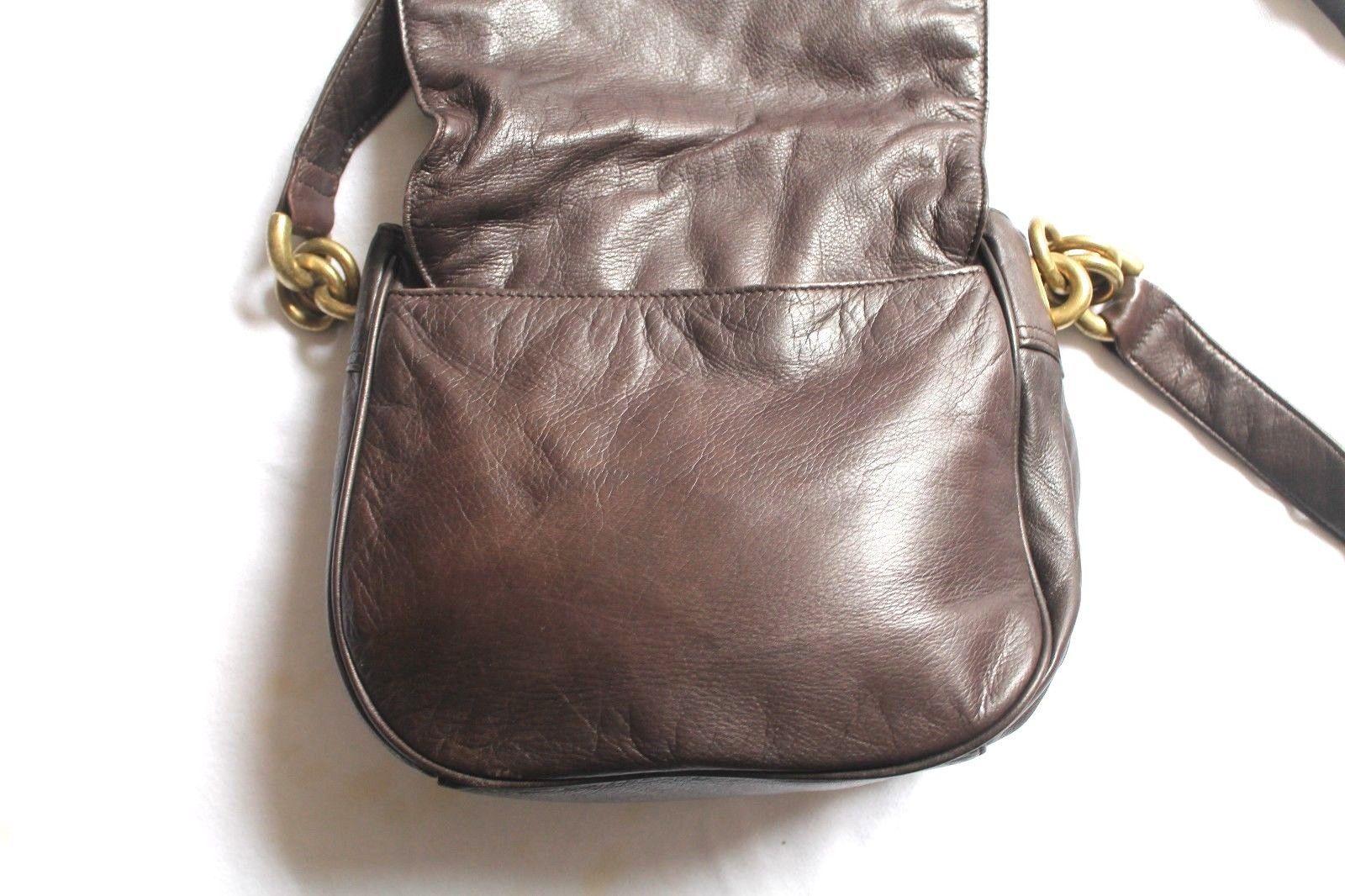 DKNY Chocolate Brown Leather Hobo Crossbodybag handbag Donna Karen