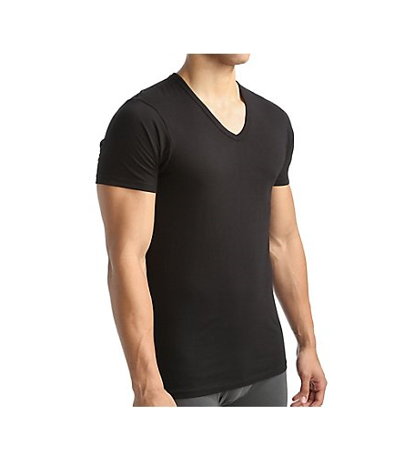 Primary image for CALVIN KLEIN MENS 100% COTTON T-SHIRT UNDERSHIRT BLACK V NECK Classic XL
