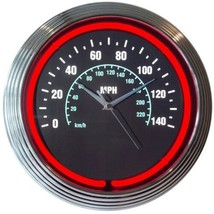 "Speedometer Car Garage Neon Clock 15""x15"" - $59.00"