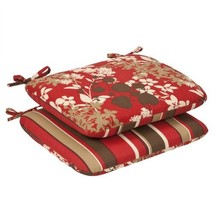 Pillow Perfect Indoor/Outdoor Red/Brown Floral/Striped Reversible Seat C... - £29.30 GBP