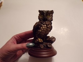 Vintage Owl Figurine on Wooden Base - $10.00