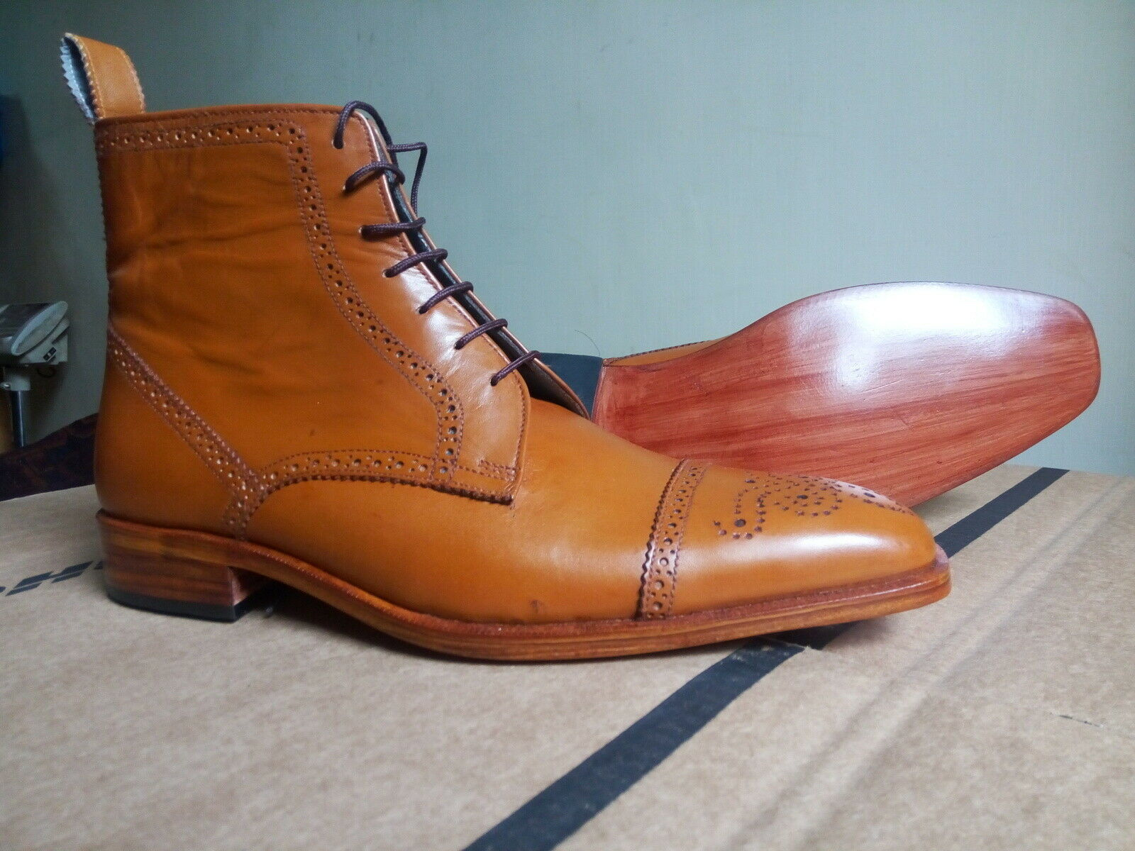 Woody Brown Tone Brogues Cap Toe Genuine Vintage High Ankle Leather LaceUp Boots