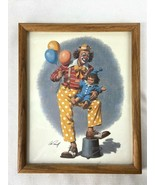 Clown with Baby Clown and Balloons Print by Arthur Sarnoff signed and Fr... - $49.95