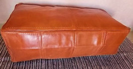 Super Large Genuine  Tan Leather Ottoman Pouf /  Pouf Cuir /Morrocan Pouffe