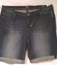 Women's 24W A.N.A Classic Distressed Stretch Blue Denim Cuffed Shorts - $18.50
