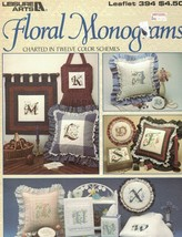 Floral Monograms Charted in 12 Color Schemes Leisure Arts Leaflet 394 1985 - $4.15