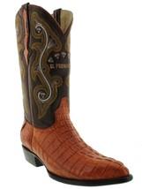 Mens Genuine Cognac Alligator Crocodile Leather Western Cowboy Boots J Toe - £175.03 GBP