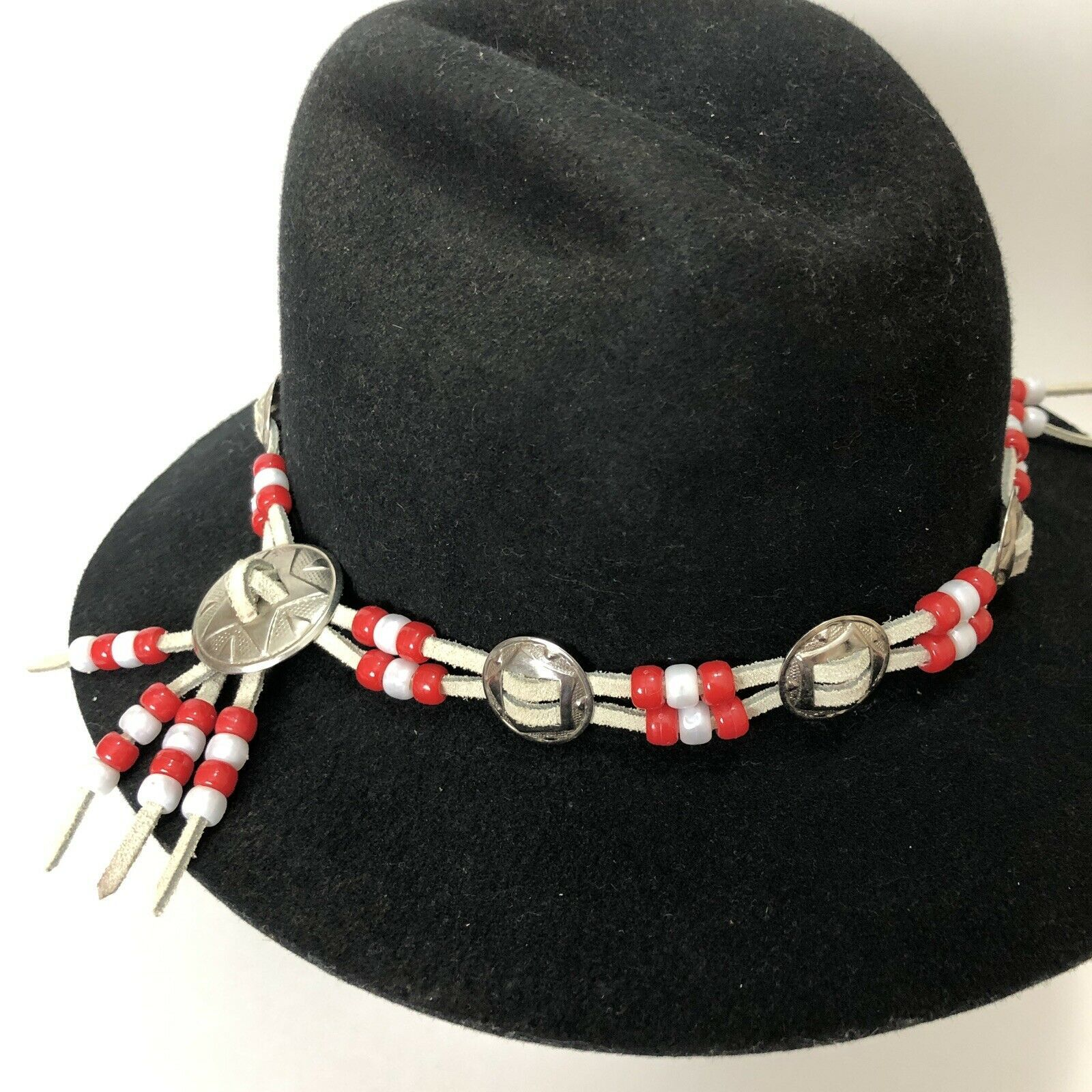 Vtg Western Outback Hat Mens Black Wool Felt Indiana Jones Dorfman Pacific USA