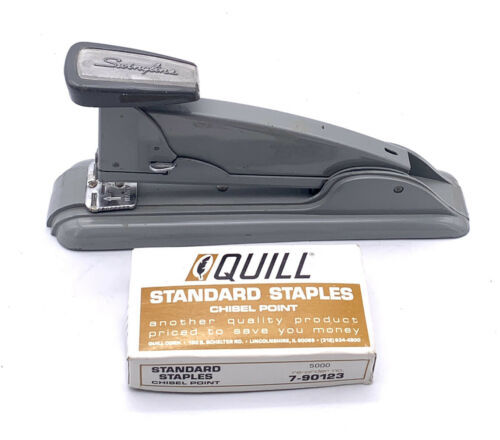 Vintage Working Swingline Speed Stapler No #4 Gray With Vintage Quill Staples - $21.78