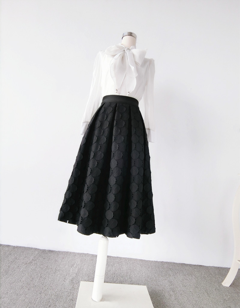 Lady Black A Line Full Pleated Skirt High Waist Midi Black Skirt with polka dot