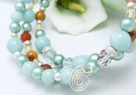 Amazonite carnelian citrine sterling beaded memory wire wrap bracelet  153ab3a8 857540 thumb200