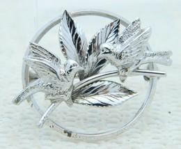 VTG .925 Sterling Silver CARL ART Two Bird Leave Leaf Brooch Pin - $39.60