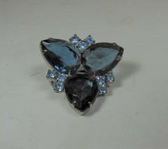 Blue Rhinestone & Blue Glass Brooch Pin - $17.81