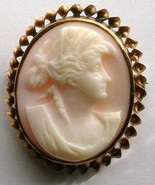 Vintage Pink Shell Cameo Brooch twisted 10k gold 1900s - $99.00