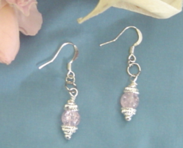 Silver and Pink Crackled Glass Earrings Handcrafted - $19.99