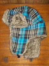 Blue Plaid with Faux Fur Winter Trapper Aviator Hat  - $6.27 CAD