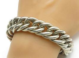 925 Sterling Silver - Vintage Chunky Twist Link Heavy Chain Bracelet - B... - $364.75