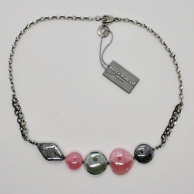 COLLIER ANTIQUE MURRINA VENEZIA VERRE DE MURANO ROSE ET GRIS COA87A45