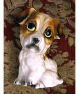 Large Eyed Dog Figurine Collectible Ceramic Porcelain Benji Mix Big Eyes... - $19.76