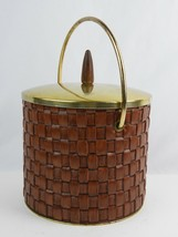 Vintage Glass Lined Woven Leather Ice Bucket Champagne w/ Lid & Brass Ha... - $28.41