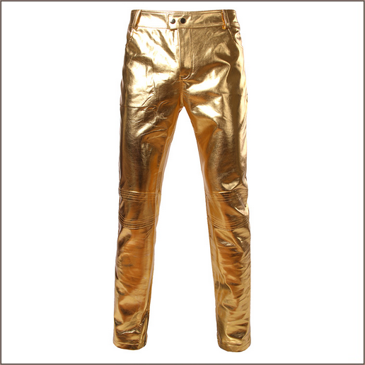 Men's Casual Gold Stage Performers PU Leather Front Zip Straight Slim Trousers