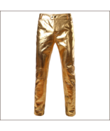 Men's Casual Gold Stage Performers PU Leather Front Zip Straight Slim Tr... - $69.95