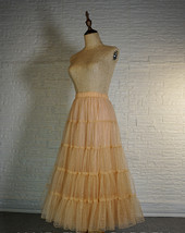 Gold Apricot Floor Length Tulle Skirt Sparkle Long Tiered Tulle Holiday Outfit image 3