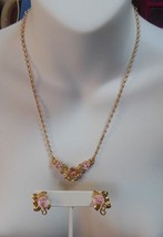 Vintage Avon Gold Tone Ceramic Pink Rose Faux Pearl Necklace and Rose Ea... - $21.77