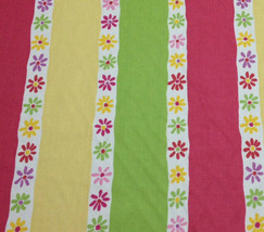 P KAUFMANN JUVENILE FLOWERS PINK GREEN STRIPE CURTAIN PILLOW FABRIC BY T... - $7.84